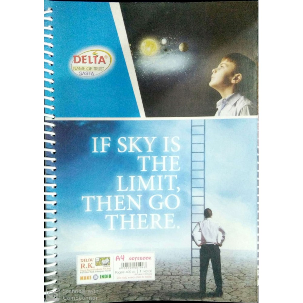 DELTA IF SKY IS THE LIMIT THEN GO THERE A4 NOTEBOOK-400 PAGE PLAIN COPY