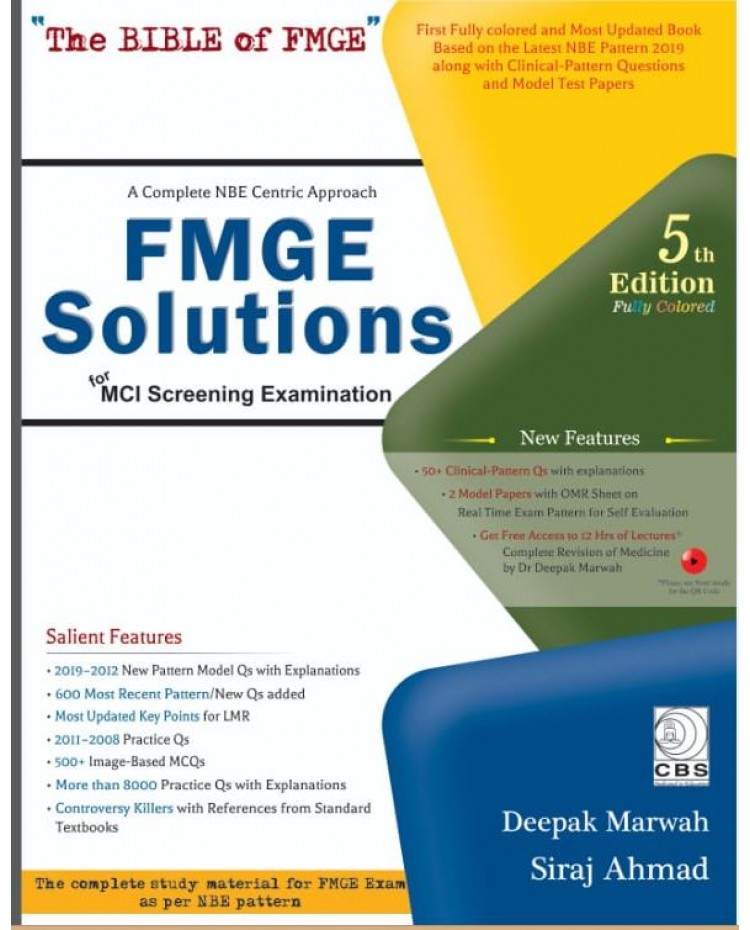 FMGE Solutions-MCI Screening Examination 5th Edition 2019 By Deepak Marwah: Pre Order Booking