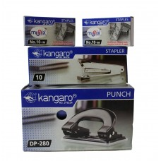 KANGARO set of 1 stapler, 2 pin box, 1 paper punch