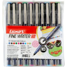 Luxor Finewriter Multicolored Pack of 10 Pens 0.5