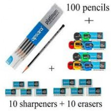 APSARA PLATINUM EXTRA DARK PENCILS (PACK OF 100 PENCILS) + 10 FREE SHARPENERS + 10 FREE ERASER