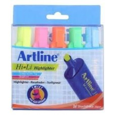 ARTLINE HIGHLIGHTER - PACK OF 5 MIX COLOURS