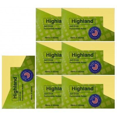 3M Highland Self Sticky Notes Notepad 3 x 4 Inch Yellow - Set of 2 Pads (Total Sheets Per Pad 100 X 2 Pads = 200 Sheets)