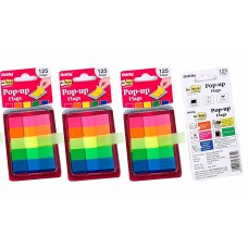 Oddy Re-Stick Pop Up Flags, 12 x 45mm, 5 Colors, 125 Flags per Pack - 3 Packs